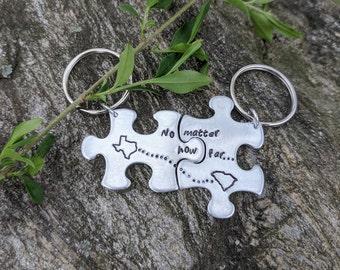 Puzzle Piece Custom Keychain | Boyfriend Gift Keychain | Custom Friend Keychain | Couple Keychain | Anniversary Gift | SET OF 2