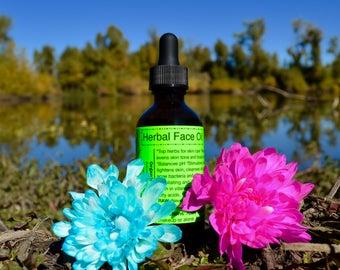 Herbal Face Oil-Raw, Organic, Vegan. Top skin care herbs, Squalane, Antioxidants, vitamins, minerals, long lasting face moisturizer.