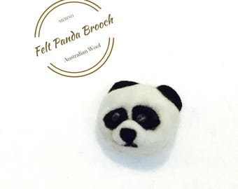 PANDA Felted Brooch, Needle felted Brooch.