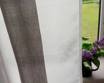 Linen curtains Brown white Striped window decor Striped curtains Privacy curtains Semi sheer transparent curtains Modern window curtains
