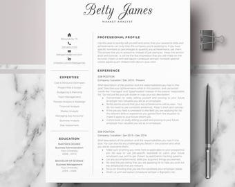 Resume template | CV template | Professional & modern résumé, CV layout; Resumé layout for Word and pages;  1, 2, 3 Page Downloadable Resume