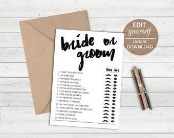 Editable Bride or Groom Game: He Said She Said Game, Bridal Shower Games, Bachelorette Games, Who Said Printable Wedding Editable Game - 021