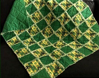 John Deere Rag Quilt Handmade One Of A Kind Throw Baby Rag Quilt Baby Girl Crib Nursery Shabby Chic Quilt