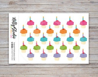 Cupcake Stickers | Birthday Stickers | Planner Stickers | The Nifty Studio [115]