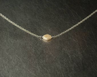 Delicate sterling silver chain necklace, glass diamond shape, short layering necklace, dainty jewellery, 925 jewelry gift, winter style