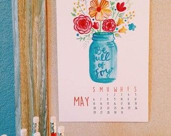 2018 Calendar - watercolor artwork - desk / wall calendar - inspirational calendar -  calligraphy - spiritual calendar -