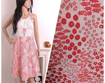 Vintage 70s Red White Ditsy Floral A line Cotton Sun Dress Boho Folk / UK 8 10 / EU 36 38 / US 4 6