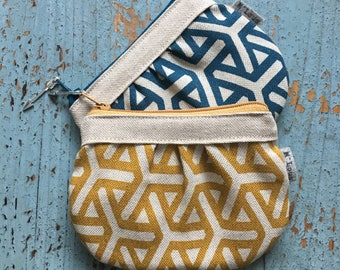Tiny little minimalistic zipper pouch coin pouch wallet make up bag mini purse tiny wallet retro blue geometric pouch make up bag vegan