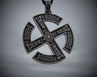 Norse Sun Wheel Necklace Luck Pendant Nordic Knot Slavic Swastika Pendant Solar Wheel Dbl Sided Asatru Celtic Odin Germanic Pagan Wotan