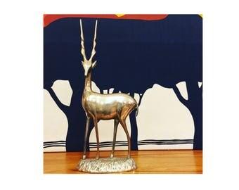Vintage Brass Gazelle Statue