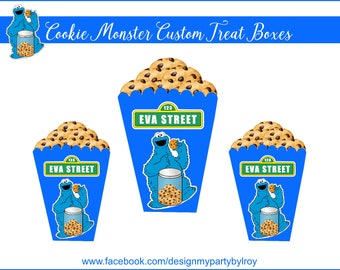 CUSTOM  TREAT BOXES,Cookie Monster Boxes,Sesame Street Party Favors,Popcorn Boxes,Cookie Monster Party,Custom Party Favors,Cookie Monster.