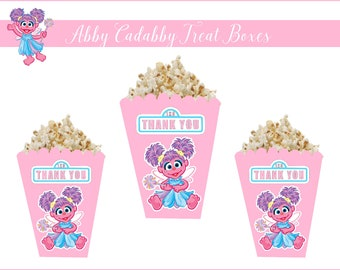8 ABBY CADABBY Treat Boxes, Abby Cadabby Party Supplies, Abby Cadabby Party Favors, Abby Cadabby Popcorn Boxes, Abby Cadabby Party Decor.
