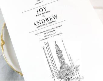 Philadelphia City Hall Skyline Wedding Programs, Philadelphia Wedding (set of 25 cards)