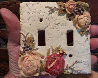 Vintage Roses 3D Switchplate cover, Switchplate cover, Resin 3D switch plate cover, Double switchplate cover