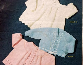 Vintage knitting pattern 1970's Sirdar 278 Baby's matinee coats and short cardigan 3-6 months 4 ply