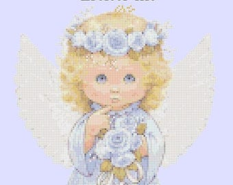 little angel Cross Stitch Pattern Pdf angel pattern ange point of croix - 120 x 172 stitches - INSTANT Download - B1183
