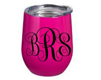 Monogram decal, wine glass decal, swig cup decal, FREE SHIPPING, personalized sticker, custom decal, home decor