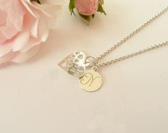 Personalized Heart Necklace Sterling Silver, Tiny Heart Necklace, Heart Pendant Necklace, Gold Heart Necklace, 925 Silver Jewelry