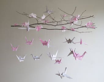 Origami Bird Mobile - Nursery Mobile, Baby Mobile, Origami Cranes, Hanging Mobile, Pink Mobile, Cherry Blossoms, Wedding Decor, Baby Shower
