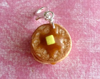 Buttermilk Pancake Miniature Food Jewelry Clay Charms Polymer Clay Pancakes