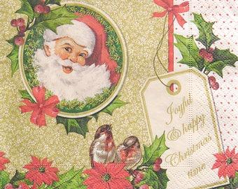 Set of 2 pcs 3-ply ''Joyful Christmas'' paper napkins for Decoupage or collectibles 33x33cm, Winter napkins, Servetten, Decopatch