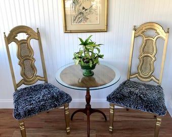 Paar Hollywood Regency Stühle, Gold Stühle, Kunstpelz Stühle, Hohe Zurück Esszimmer  Stuhl