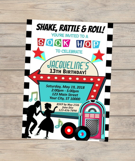 Sock Hop Birthday Invitation Retro 50s Birthday Party Sock Hop