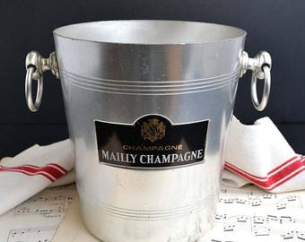 25% SALE Vintage French Metal MAILLY Grand Cru Champagne Ice Bucket Wine Cooler Chiller