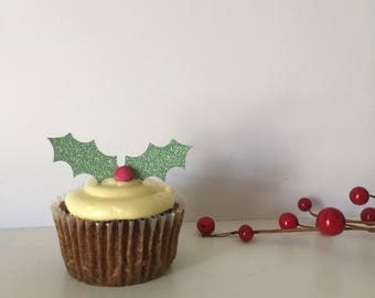 Holly leaves cupcake toppers x 12