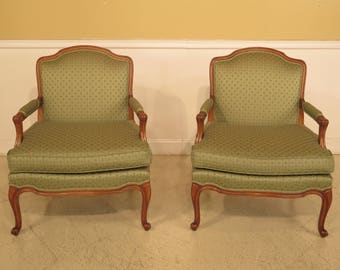 29457E: Pair French Louis XV Style Open Arm Bergere Chairs
