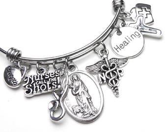 Nurse Practitioner NP Patron Saint St. Agatha Catholic Holy Medal Charm Bangle Bracelet, Stainless Steel, Devotional Jewelry, Healing