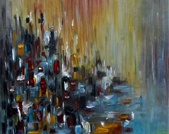 "Original Abstract Oil Painting by Nalan Laluk: ""City at Twilight"""