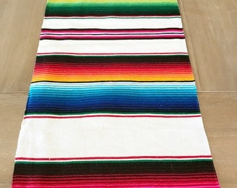 Mexican Serape table runner, Southwestern decor, tribal party decor, Fiesta decorations, striped rainbow white