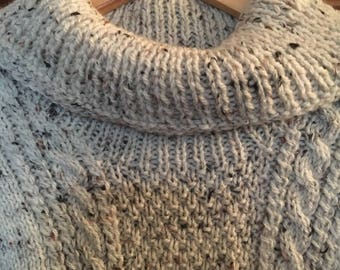 """Jumper Aran Hand Knitted Fleck Cable 44"""""""