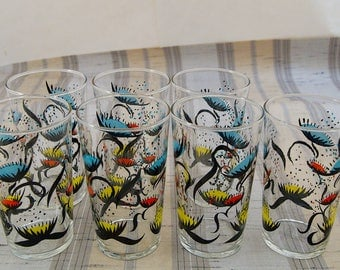 7 VTG Federal Glass Red Turquoise Yellow Black Atomic UFO Venus Fly Trap 10oz Tumblers