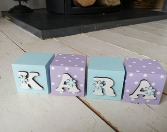 Girls PURPLE/TURQUOISE  5cm decorative wooden blocks. Daisy/Polka Dots. New baby gift, christening, nursery, bedroom, cake smash prop