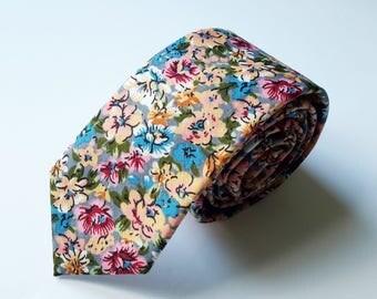 Blush Pink, Cream, Blue Floral Neck Tie, Men's Neck Tie, Mens Floral Tie