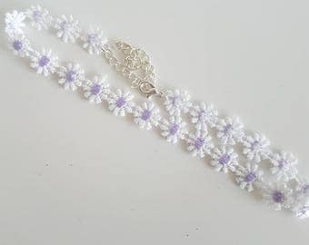 Lilac and White Flower Choker