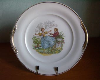 Antique cake, cake Stand, Scene Galante Watteau, French dish St Amand dish old 60's pie