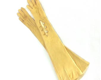 Vintage Leather Opera Gloves - Size 6.5 // long leather gloves evening cocktail party yellow retro 60s gloves