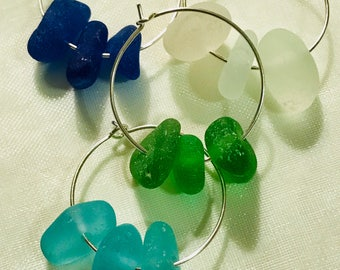 Sea glass wine glass charms