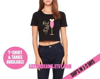 Rose all day Food and Wine Shirt Crop Top