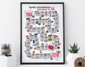 50th birthday gift for him, personalised 50th birthday present, 50th gift for her, gift for 50th, born in 1968, 60s gift, I love the 60s