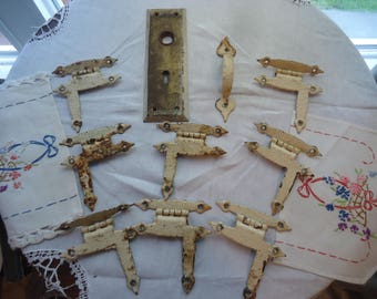 Vintage Hardware Hinges Door Plate Handle Chipped Painted Rusty Hammered Craft Re-Purpose