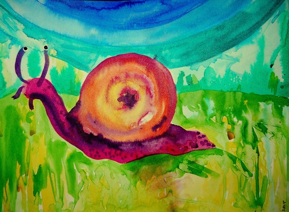 India Ink Painting of MR. SLOW-KUM, a snail on watercolor paper by Stacey Torres