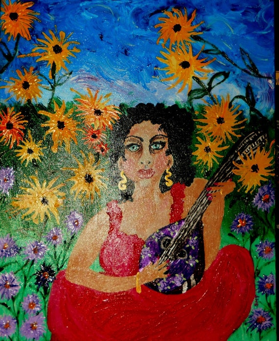 "Acrylic Painting 24 x 30"" Canvas , PLAYING FOR PEACE, Ethnic Folk Art  by African American Artist Stacey Torres"