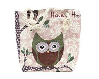 Classic bag, rope handle, anchor, shopping bag, beach bag, Owl