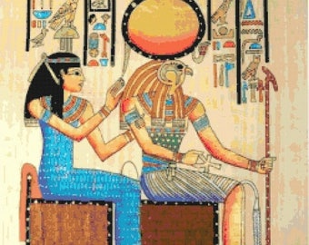 "Horus Counted Cross Stitch  and the queen egyptian pattern papyrus modern cross stitch needlecraft - 17.71"" x 24.50"" - L961"