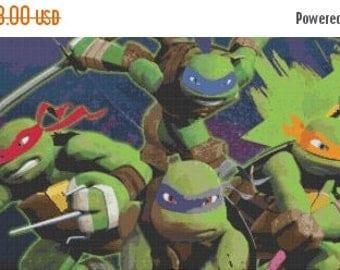 """ninja turtles Counted Cross Stitch ninja turtles Pattern pdf embroidery, kreuzstitch, korss- 35.43"""" x 13.28"""" - L272"""
