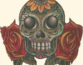 "sugar skull Counted Cross Stitch sugar skull Pattern pdf file ristipisto kuvio needlepoint korss - 15.71"" x 14.71"" - L1222"